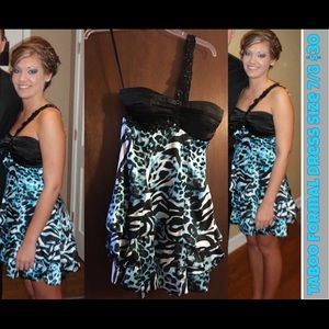 Dresses & Skirts - Women's black & blue cocktail dress